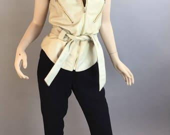 Vintage 80s Motorcycle Vest// White Leather Vest // Motorcycle Women's Vest (F1)