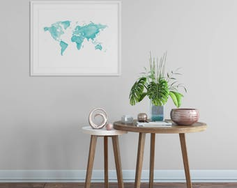 World Map Watercolor Print - Travel, Globe, World