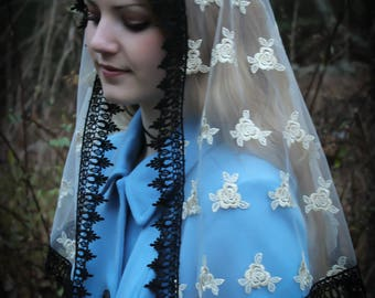 Evintage Veils~ Regal Roses Gold Embroidered  Traditional Vintage Inspired D Shape  Mantilla Chapel Veil