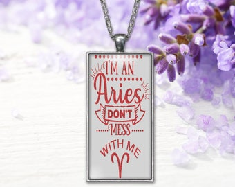 Aries Zodiac Pendant  Horoscope Word Print Jewelry Necklace, Keepsake Gift for Her, Birthday Anniversary Present, Gifts for Her or Him
