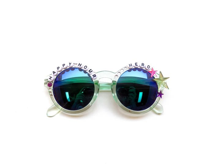 """Moe. """"Happy Hour Hero"""" hand decorated sunglasses, musical embellished sunglasses, funky festival shades, Phish NYE Mexico novelty gift"""