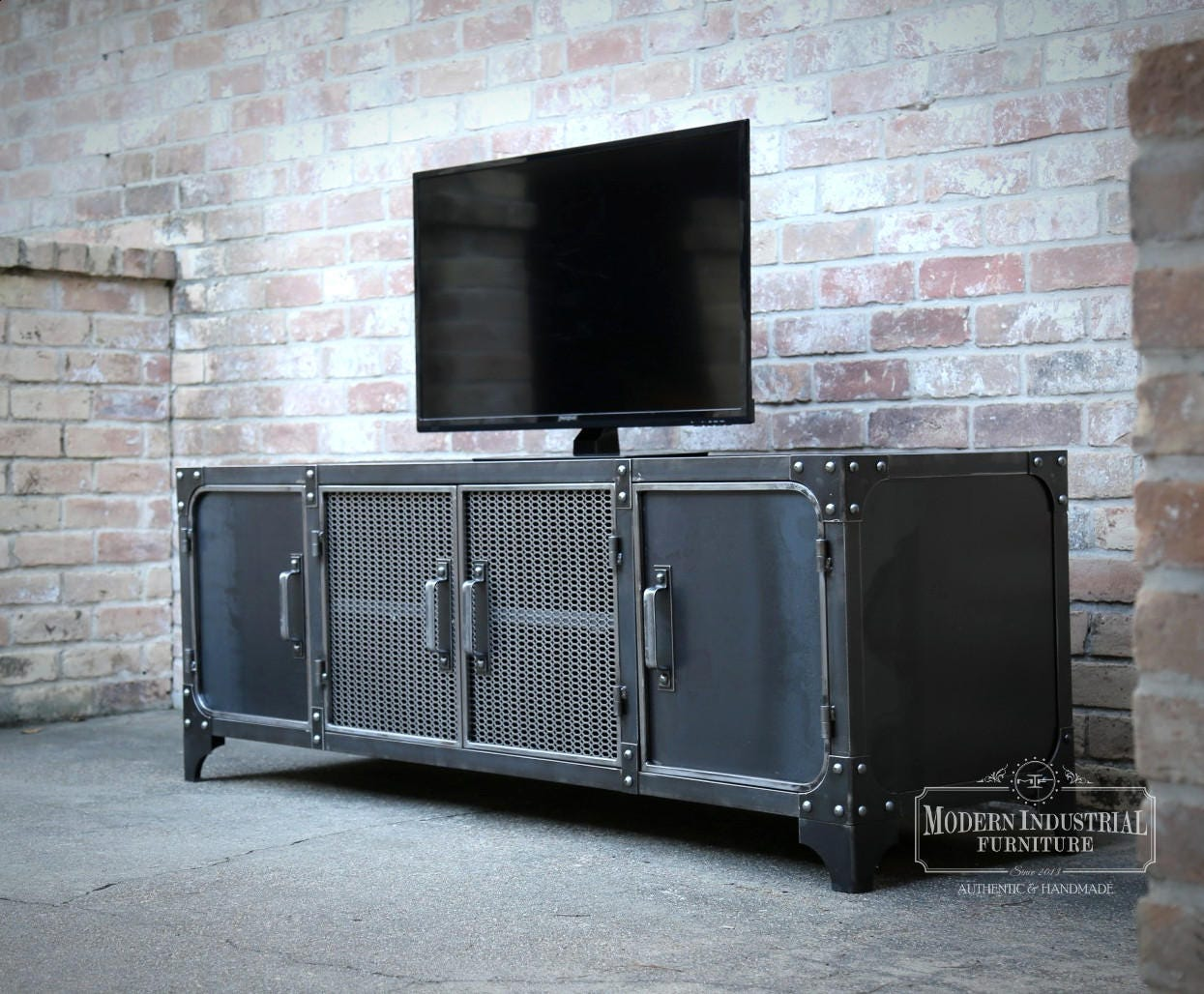 modern console cabinet media console industrial modern all steel tv stand cabinet 23490