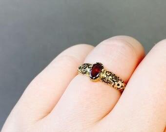 GEORGIAN garnet antique engagement ring, conversion collet set gemstone promise ring unique engagement ring yellow gold engraved shank