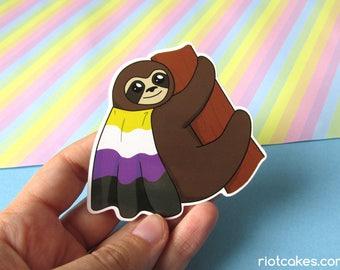 Non-Binary Pride Sloth Sticker