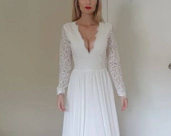 Long Sleeve Lace and Chiffon wedding dress
