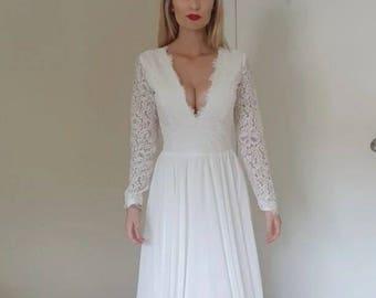 Long Sleeve Lace and Chiffon wedding dress