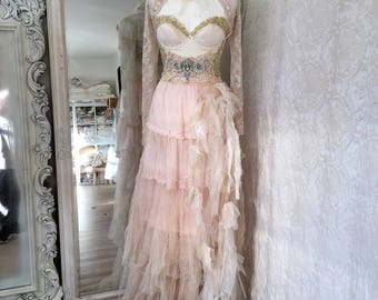 Wedding dress with roses ,antique french lace,pearls,beautiful bridal gown,love dress,fairytale dress ,victorian bridal gown,ethereal dress
