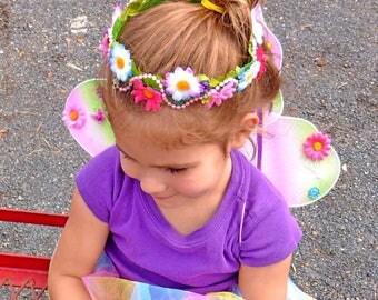 RAINBOW Flower Child Crown Flower Head Wreath Child Flower Headband Fairy Head Wreath Fairy Costume Tiara Crown Flower Celestial Fairy