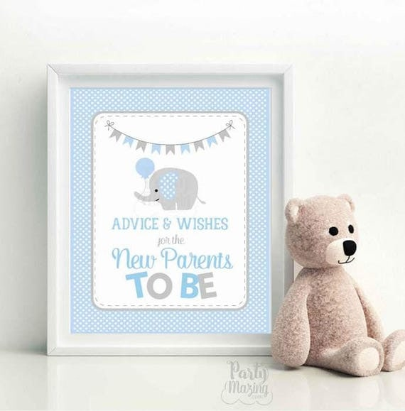 Advice and Wishes Sign, Blue Elephant Baby Shower Favors, wishes for the new parents to be Sign, DIY Printable, Instant Download -D943 BBEB1