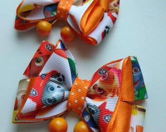 2 items bows kanzashi clips with berries orange. Handmade. Gift for girl