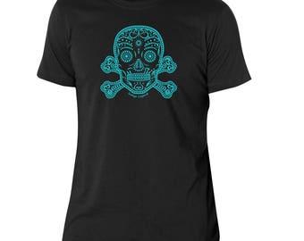 Sugar skull & crossbones T shirt for men, dia de muertos, sugarskull, screen printed by hand, gift for him, gift for husband, gift for men.