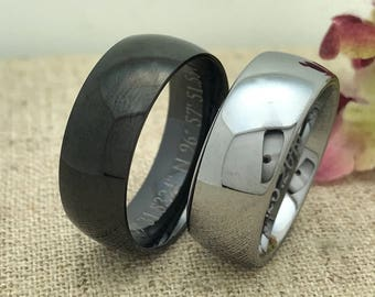 8mm Personalized Tungsten Rings,Couple Promise Ring,Matching Couple Ring,Couple Initials Ring,Couples Names Ring,Custom Promise Ring for Him