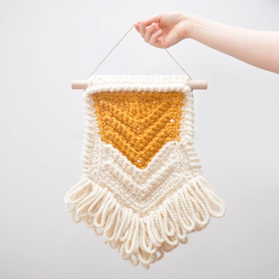 The Chevron • Wall Hanging (MEDIUM) • Crochet Chunky Knit • Colour: BUTTERSCOTCH + VANILLA