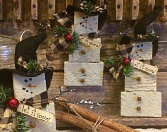"Primitive Winter ""Let it Snow"" Series Snowman Set/3 Ornaments Handmade Antique Wood Lath Gatherings Adorable Holiday Decor"