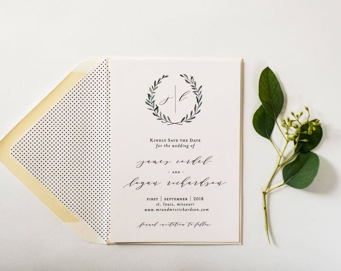 NEW! james save the date invitation (sets of 10)  //  winery olive branch wreath rustic eucalyptus greenery custom modern calligraphy invite