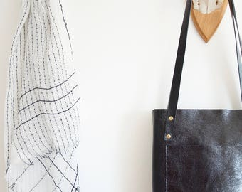 Black leather tote // Handmade slim veg tanned leather tote in midnight