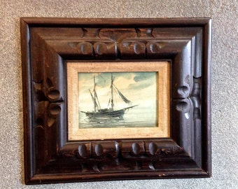 "Vintage ""Ghost Ship"" Original Oil Painting on Canvas  Board"