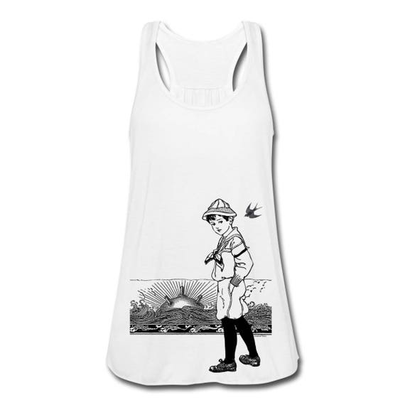 A Day At The Seaside. Sailor Boy Sea Mine Sunset Horizon Women's Floaty Racerback Vest Tank Top. With Ruched Back. Sizes S-XL. White.