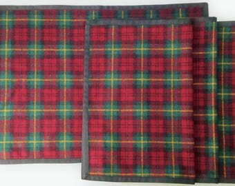 Holiday Placemats Plaid Place Mats Washable Wool Mats Set of 4 Winter Decor