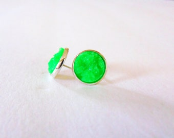 faux druzy earrings- neon green ( green druzy earrings, druzy studs)