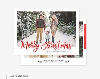 Christmas Card Template for photographers PSD Flat card - Photoshop Template - PSD Template - 040