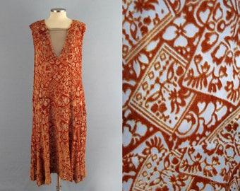 1920s Dress / 20s Flapper Dress / Orange Burnout Velvet / Devore Silk Chiffon / Egyptian Revival