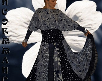 Robe bohème , jupon , boho , patchwork .... ' Bleu nuit  ...'