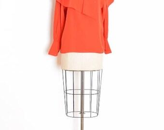 80s chloe blouse, vintage 80s top, red silk blouse, caplet cape shirt, chloe designer, 80s clothing, silk blouse, silk shirt, red top, M