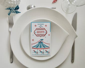 """Individual menu on the """"Carnival"""" theme with red and teal carousel"""