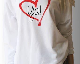 "Valentine's Day ""LOVE YA"" Wide Neck 3/4 length sleeve Sweatshirt style Top"
