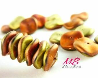 18 Matte California Rush Beads, Gold Preciosa Ripple Beads 12mm Czech Glass