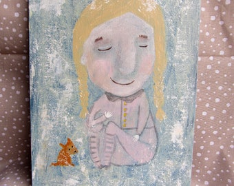 "A GIRL - Original Acrylic Painting 18x24 cm, 7""x9"" Portrait Face Painting"