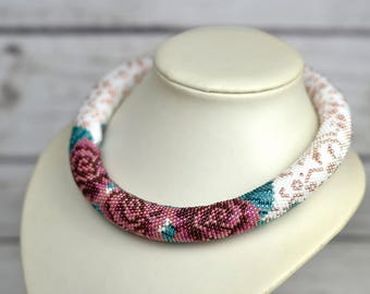 Clothing gift-for-wife gift-for-women beaded necklace chunky necklace statement necklace bohemian jewelry for women gift unique jewelry