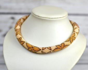 Gift\for\mom seed bead necklace birthday gift\for\sister in law beige necklace womens jewelry crochet necklace gift\for\wife birthday gift