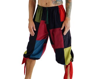 BUCCANEER PANTS PATCHWORK- Steampunk, Pirate Pants, Harem Pants, Medieval Clothing, Renaissance Festival, Burning Man, Larp Costume