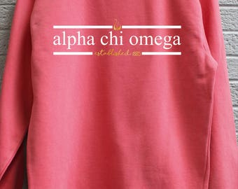Alpha Chi Omega Comfort Color Sweatshirt with Press on Design