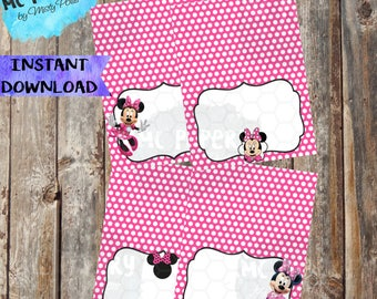 INSTANT DOWNLOAD - Minnie Mouse Printable Birthday Food Labels/Tents (Pink) - YOU Print