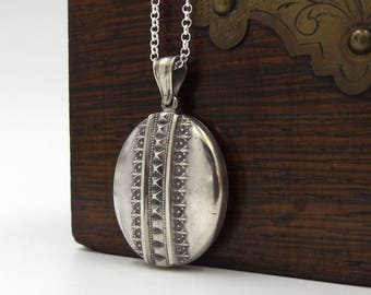 Sterling Silver Victorian Locket Necklace | Antique Oval Engraved Photo Locket One Of A Pair