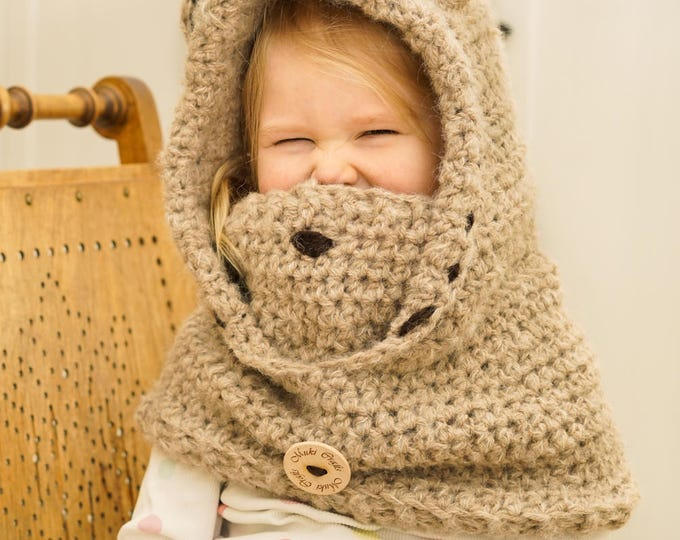 Teddy bear hooded cowl Jacob with inner cowl (kids size)