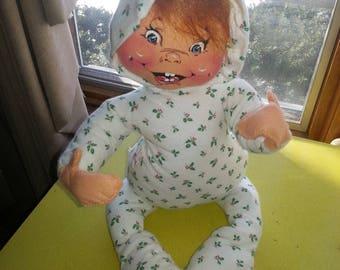 "Vintage 1983 Annalee Mobilitee ""PJ Baby"" Christmas Fabric Doll"