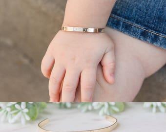 Baby Bracelet, Personalized Baby Toddler Name Bracelet, Custom Cuff for Little Girl, Initial Bracelet, Baby Jewelry, 1st Birthday Gift