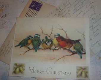 Lovely Birds on Vintage Christmas Card With Original Envelope and Letter
