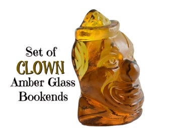 70s WHEATON CLOWN Bookends Brown Amber Wheatonware Wheaton GlassWare 1970s Heavy Glass Art Circus Carnival Pair Collectible Office Decor