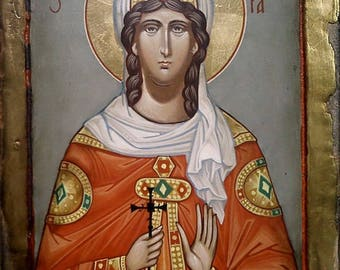 Saint Barbara, Hand painted orthodox icon, Byzantine orthodox icon, Orthodox art, Made to order