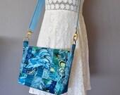 Dolphin bag, Blue crossbody, Dolphin gift, patchwork shoulderbag, beachside satchel, ocean coloured, OOAK bag,