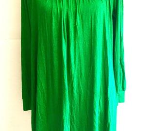 Women cotton boho bohemian tunic dress, tunic top, bead embroidered neck, XL, XXL, plus size green color long sleeve