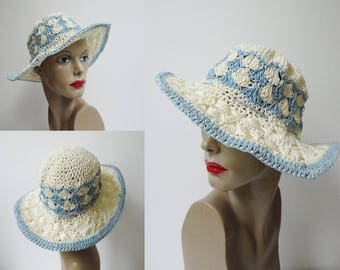 Ivory Blue 60s Vintage Summer Hat// Size 54 // Hand Made