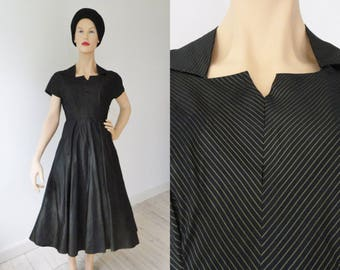 Black 50s Taffeta Vintage Dress With Gold Lines