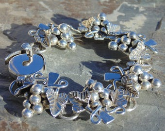 Mexican Sterling Silver Heavy Grape Bunches Link Bracelet -49 Grams