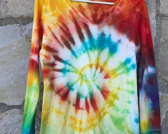 Classic Rainbow Spiral Women's Long Sleeve Tie Dye Tee Shirt